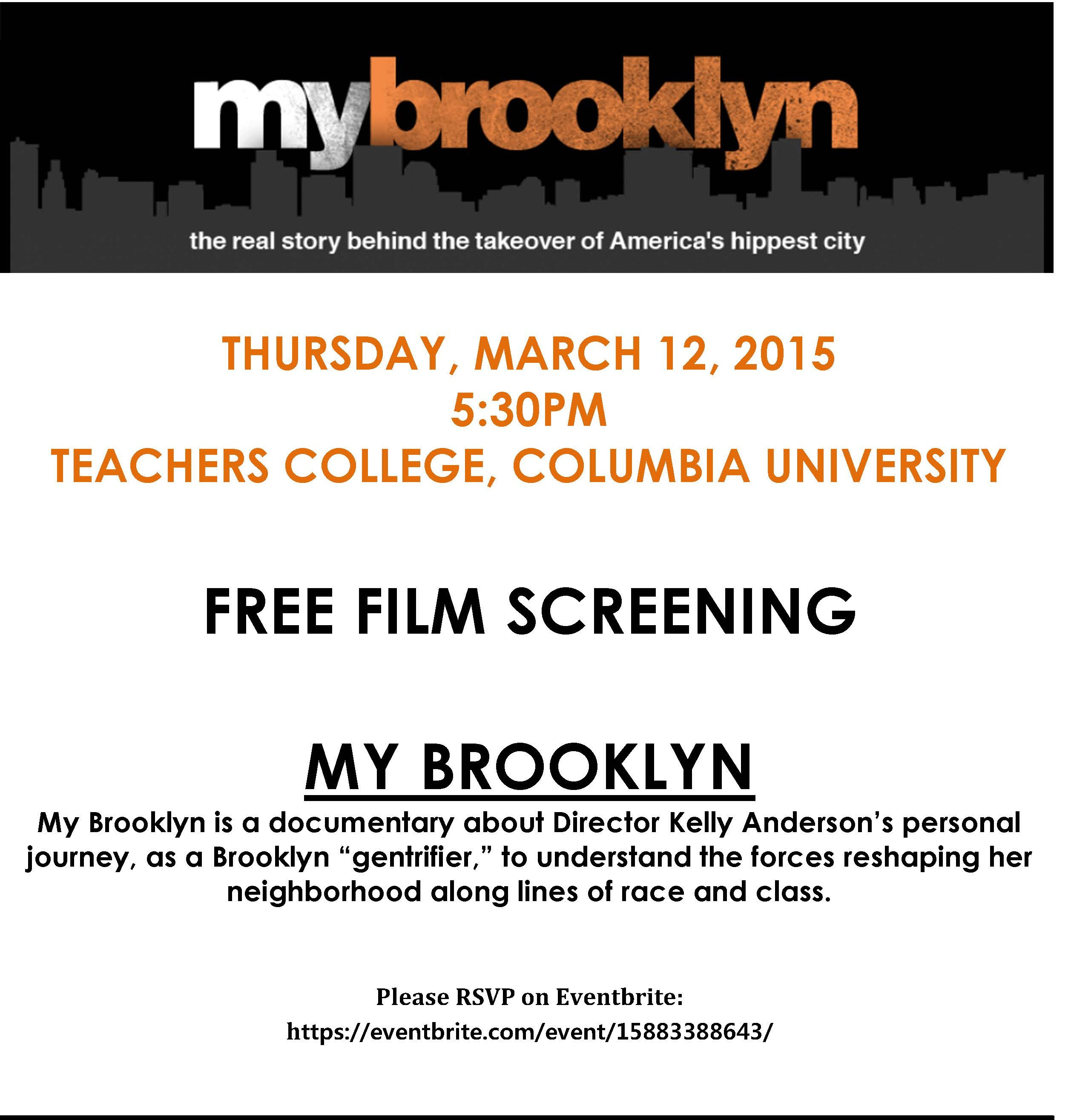 Join us March 12 for the film My Brooklyn